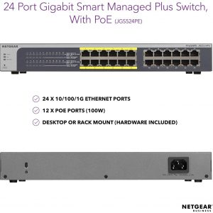 NETGEAR 24-Port Gigabit Ethernet Smart Managed Plus PoE Switch (JGS524PE)
